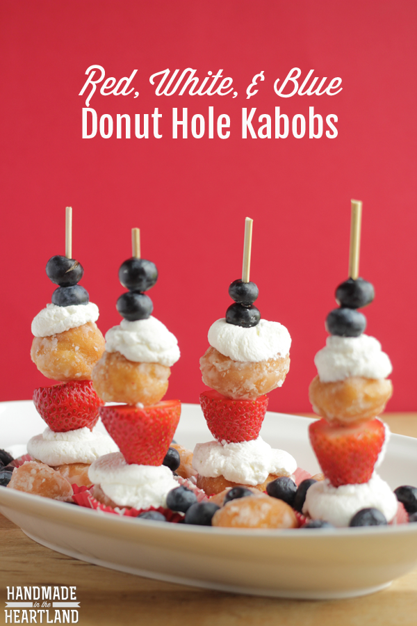 Red, White & Blue Donut Hole Kabobs for the 4th of July breakfast!