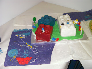 homemade lego birthday cakes on star wars tablecloths