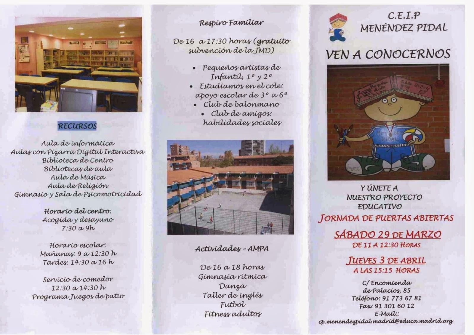 Tríptico elaborado por el CEIP Menéndez Pidal para sus días de puertas abiertas.