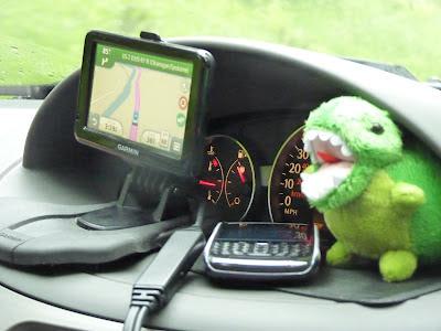 dashboard: GPS, phone, t-rex