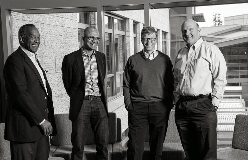 New Chairman of Board of directors, John Thompson (left); new CEO, Satya Nadella; Founder, Bill Gates; former CEO, Steve Ballmer