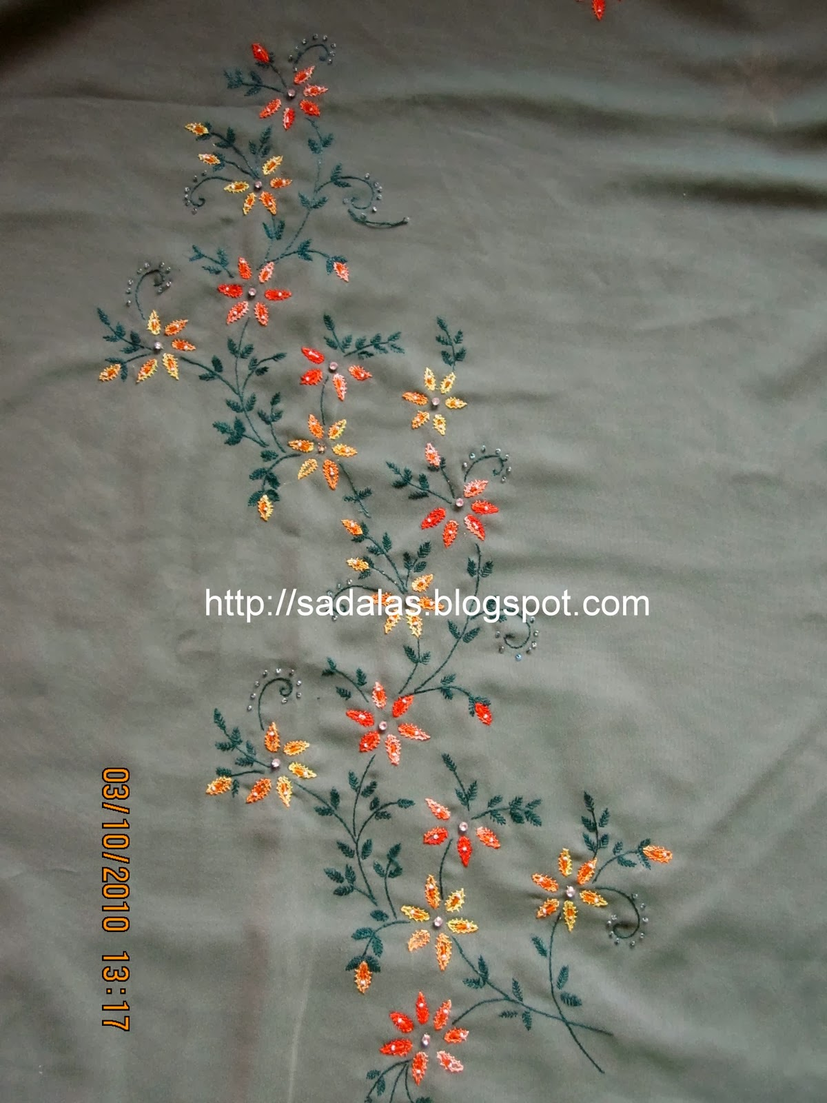 Sadala S Embroidery Double Chain Stitch Saree