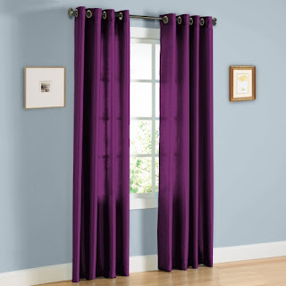 Purple faux curtains