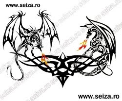 back tattoo / tribal tattoo / dragons tattoo