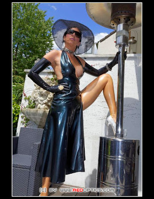 Long Black Latex Dress and Heels Shiny High Society
