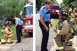 Cara Unik Pemadam Kebakaran Lamar Kekasih