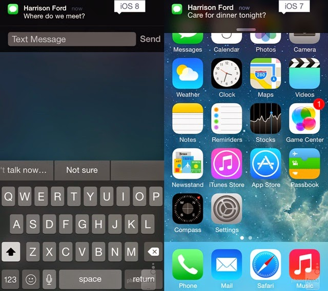 iOS 8 and iOS 7 OS 8 Message notifications
