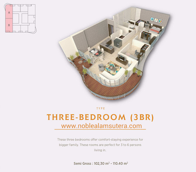 Tipe unit 3 BR The Noble Alam Sutera Apartment