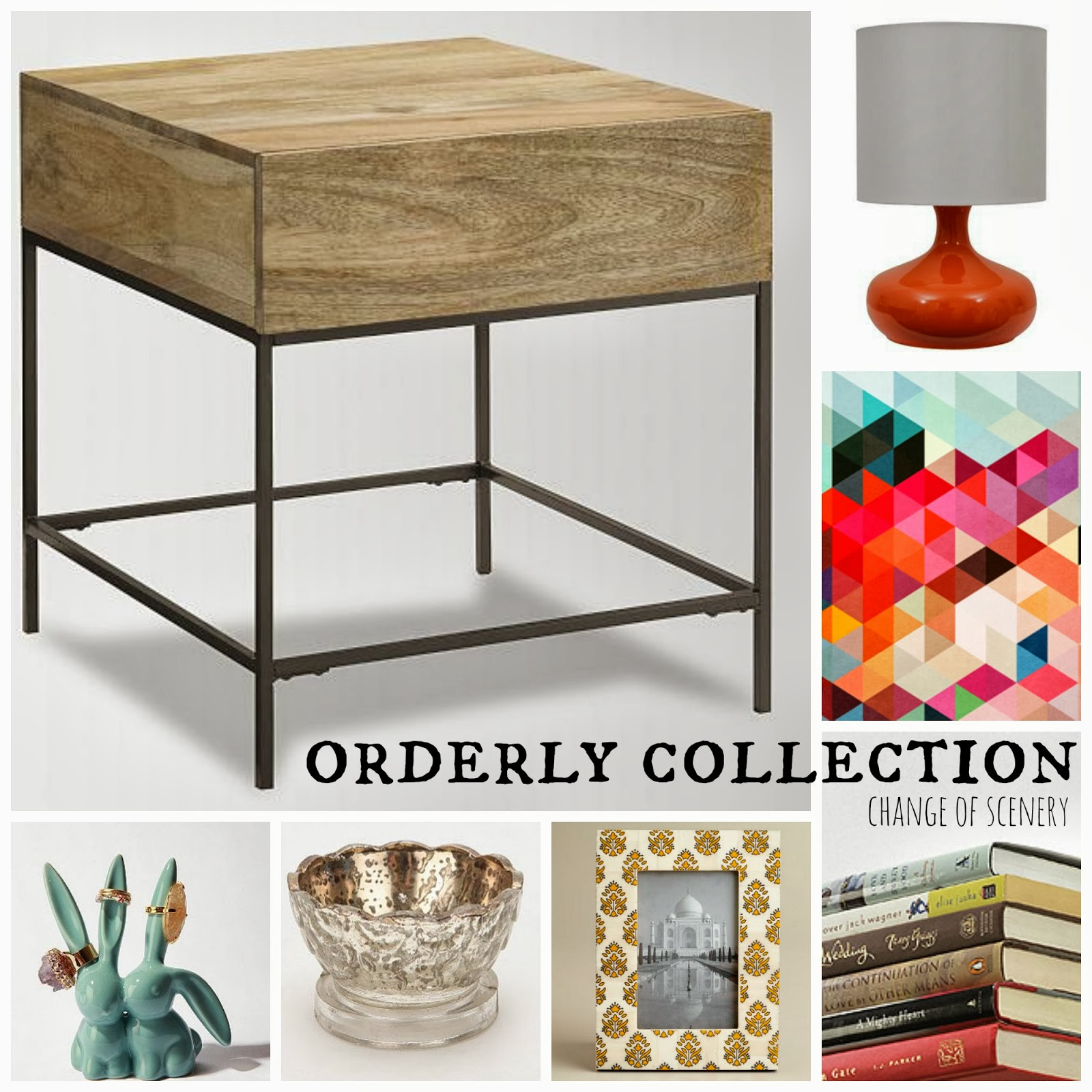 clockwise top left: west elm / target / society6 / stack of books / title=