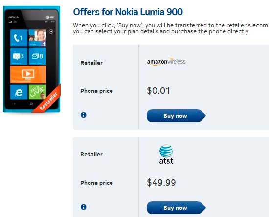 price of Nokia Lumia 900 in US