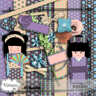 "Free scrapbook kit ""Kokeshi dolls"" from Mariscrap"