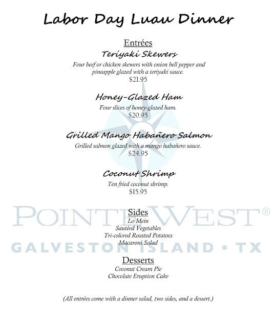 Pointe west beach club labor day luau dinner menu for Galveston fishing report seawolf park