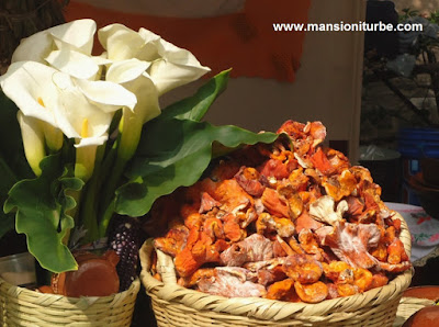 Wild mushroom and flowers at the Market