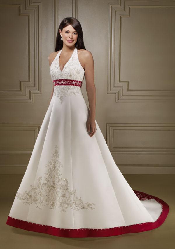 WEDDING PLAN Mixed White and Red Wedding Dress