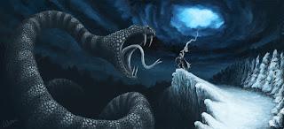 Thor vs Jormungand, Ragnarok norse mythology