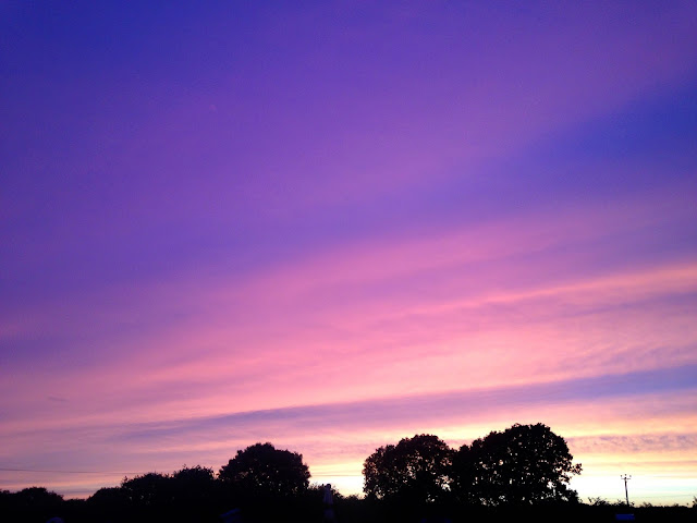 purple sunset in Dorset