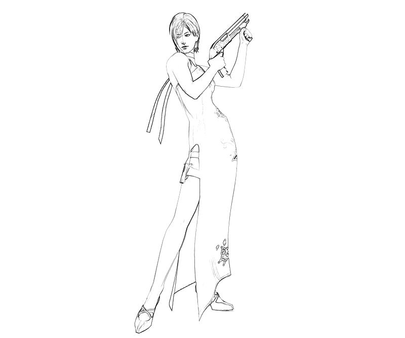 printable-resident-evil-ada-wong-gun-coloring-pages
