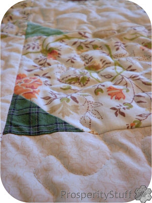 ProsperityStuff Quilt detail - shirt fabric on vintage sheet