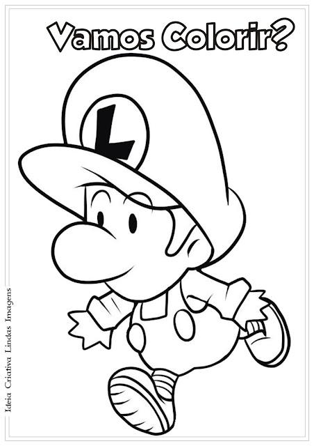 Desenho Super Mario Bros. Luigi Baby para colorir