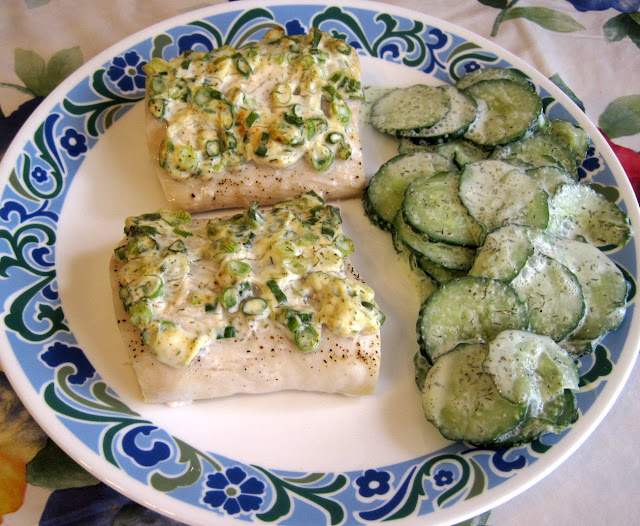 baked fish with mayonnaise and scallions, cucumber dill salad