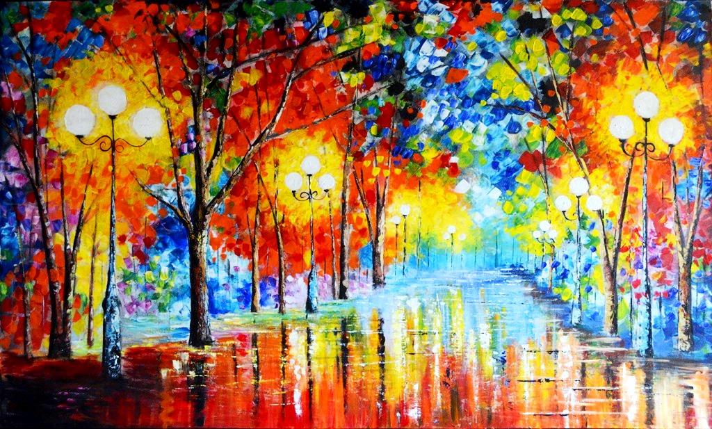 Cuadros modernos pinturas y dibujos paisaje moderno con - Cuadros modernos con mucho color ...