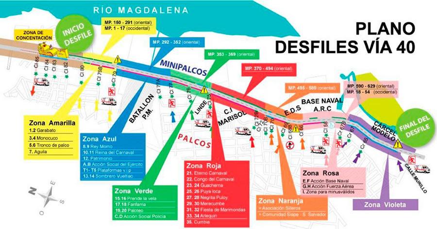 Desfile Recorrido Mapa via 40 Carnaval de Barranquilla 2018