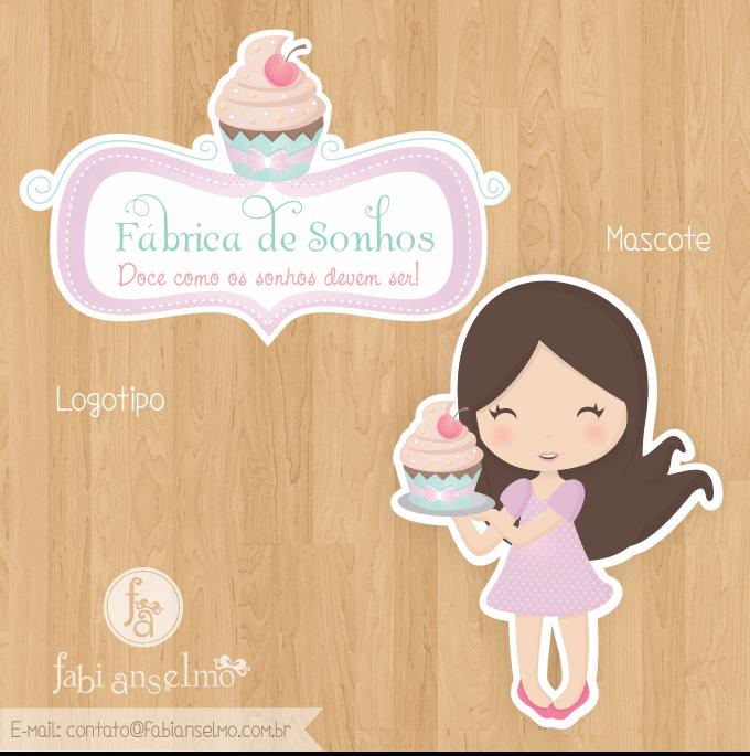 logotipo, logomarca, logo fofo, logo para doceria, logo para doces, mascote, menininha, desenho de menina