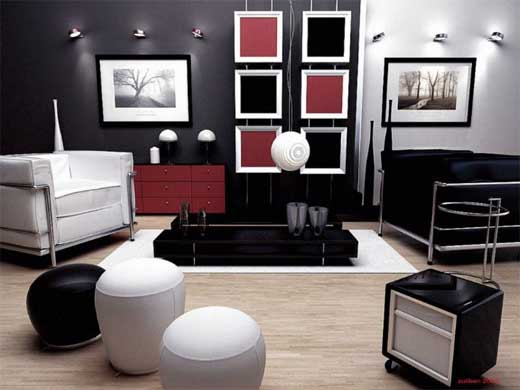 Black and Red Living Room Decorating Ideas
