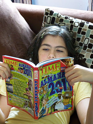 girl reading magazine