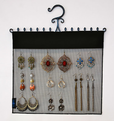 mesh earring organizer, with hook to hang in a closet