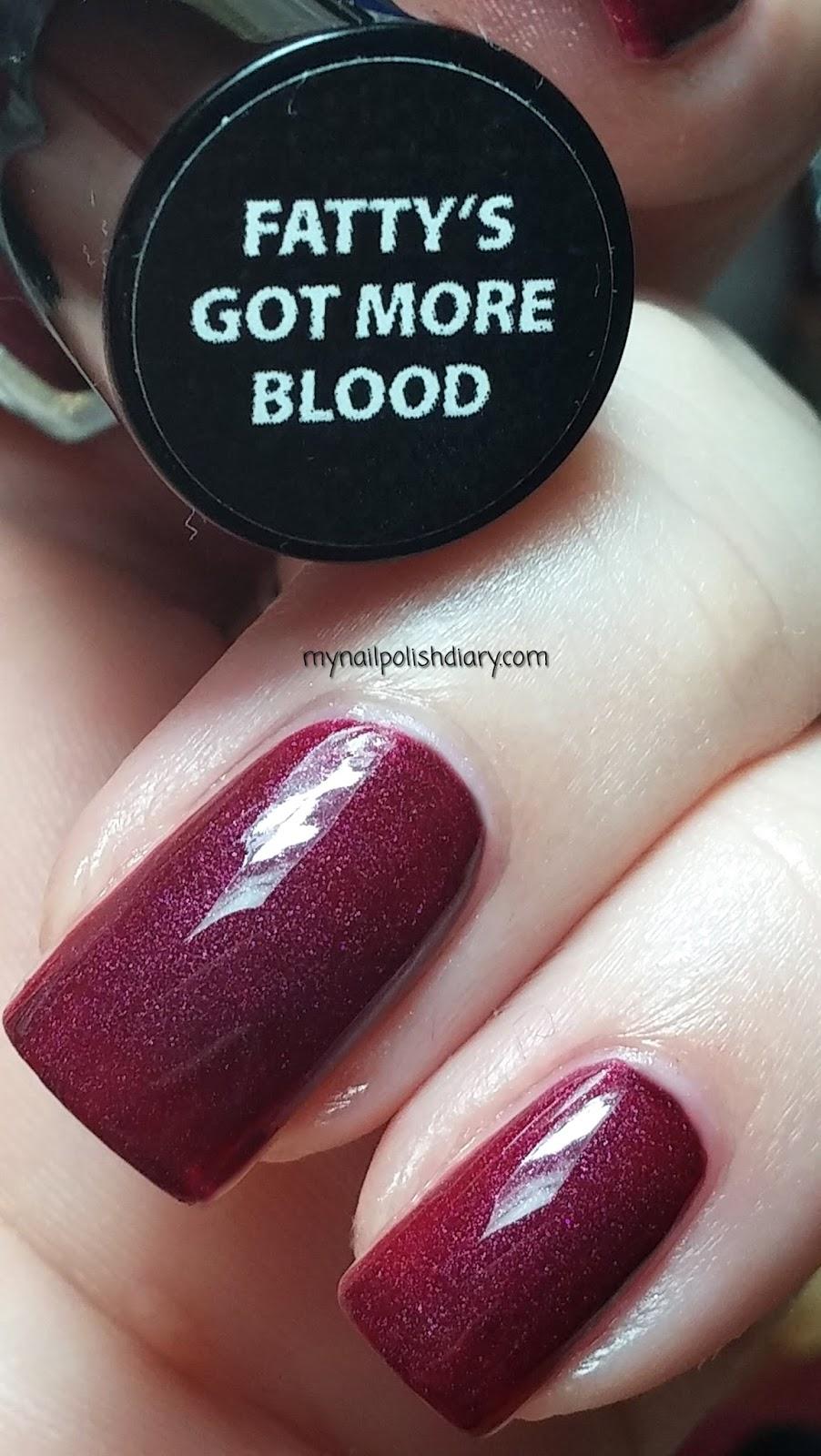 My Nail Polish Diary: ManGlaze Fatty\'s Got More Blood with Top Coat