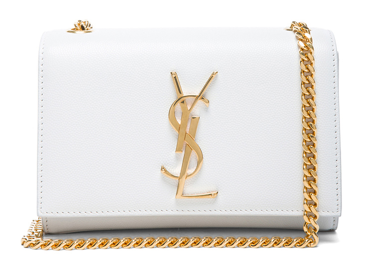 Saint Laurent small leather Monogramme Chain Bag in Optic White