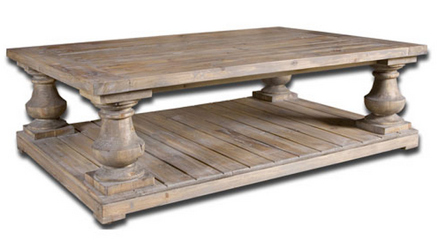 Balustrade salvaged wood coffee table car interior design Restoration coffee tables