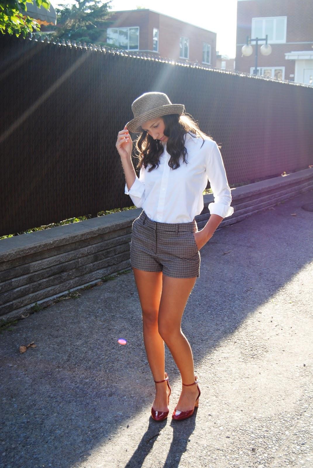 annie hall white unisex button-down shirt plaid shorts hat fall fashion red shoes