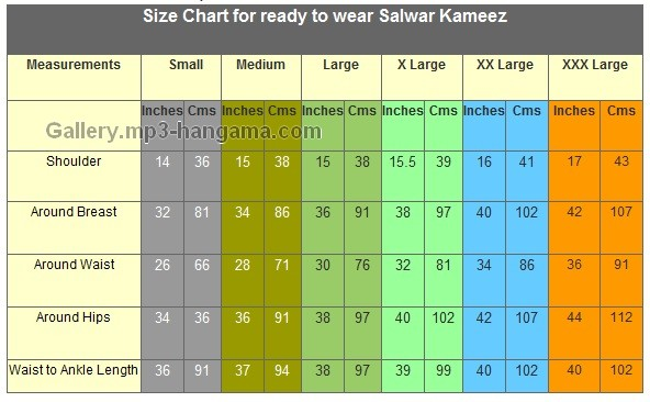 readymade blouse size chart: Size chart for ready to wear salwaar kameez ready made garment