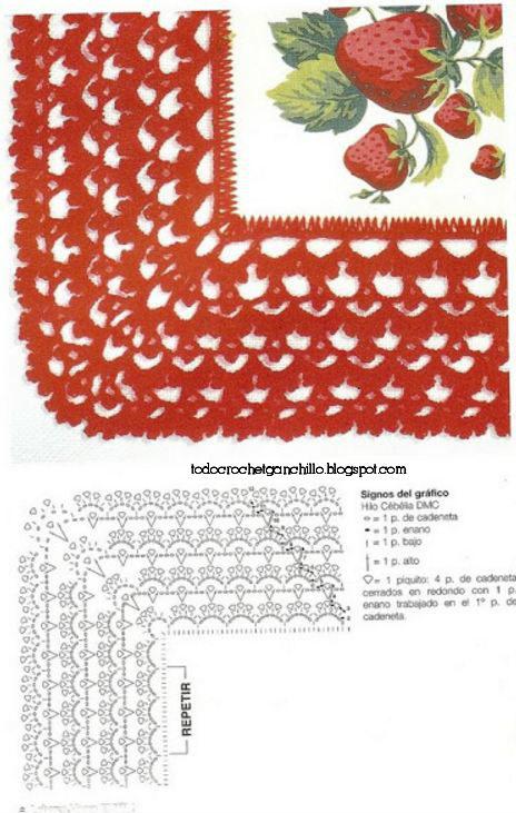 Puntilla roja para decorar manteles y servilletas tejida al crochet
