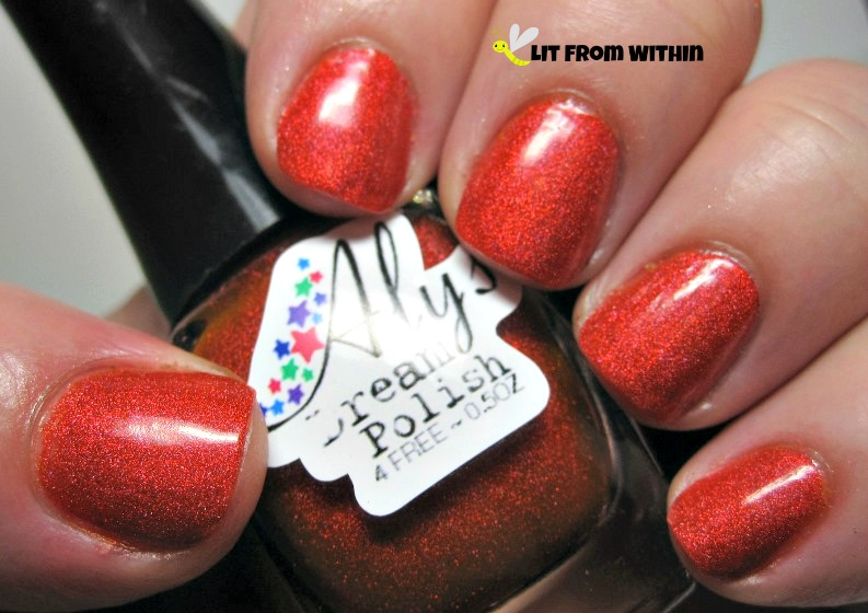 Aly's Dream Polish Persimmon, a hot, hot, hot orange holo