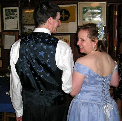 June 11, 2005: Steve & Lenna married wearing moon & star hand stamped wedding clothes