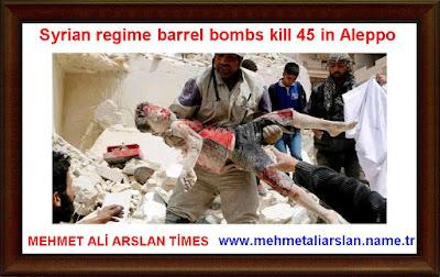 Syrian regime barrel bombs kill 45 in Aleppo