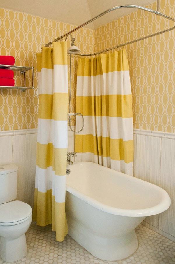 Ideas Para Decorar Un Baño Blanco:Ideas para decorar tu casa: Un baño amarillo y blanco con toques de