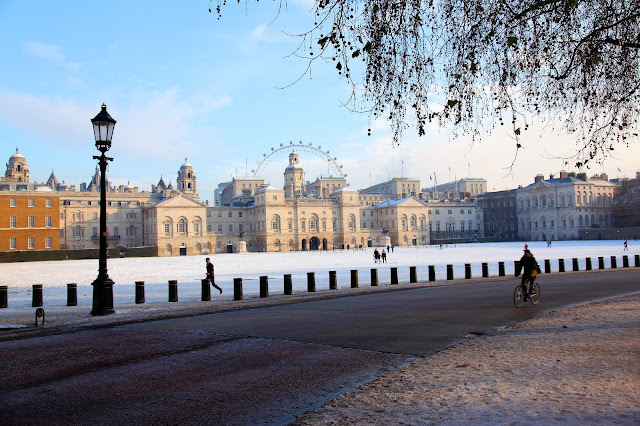 Horseguards Parade in the snow, near St. James' Park. Photo is the property of EuroStar. Unauthorized use is prohibited.
