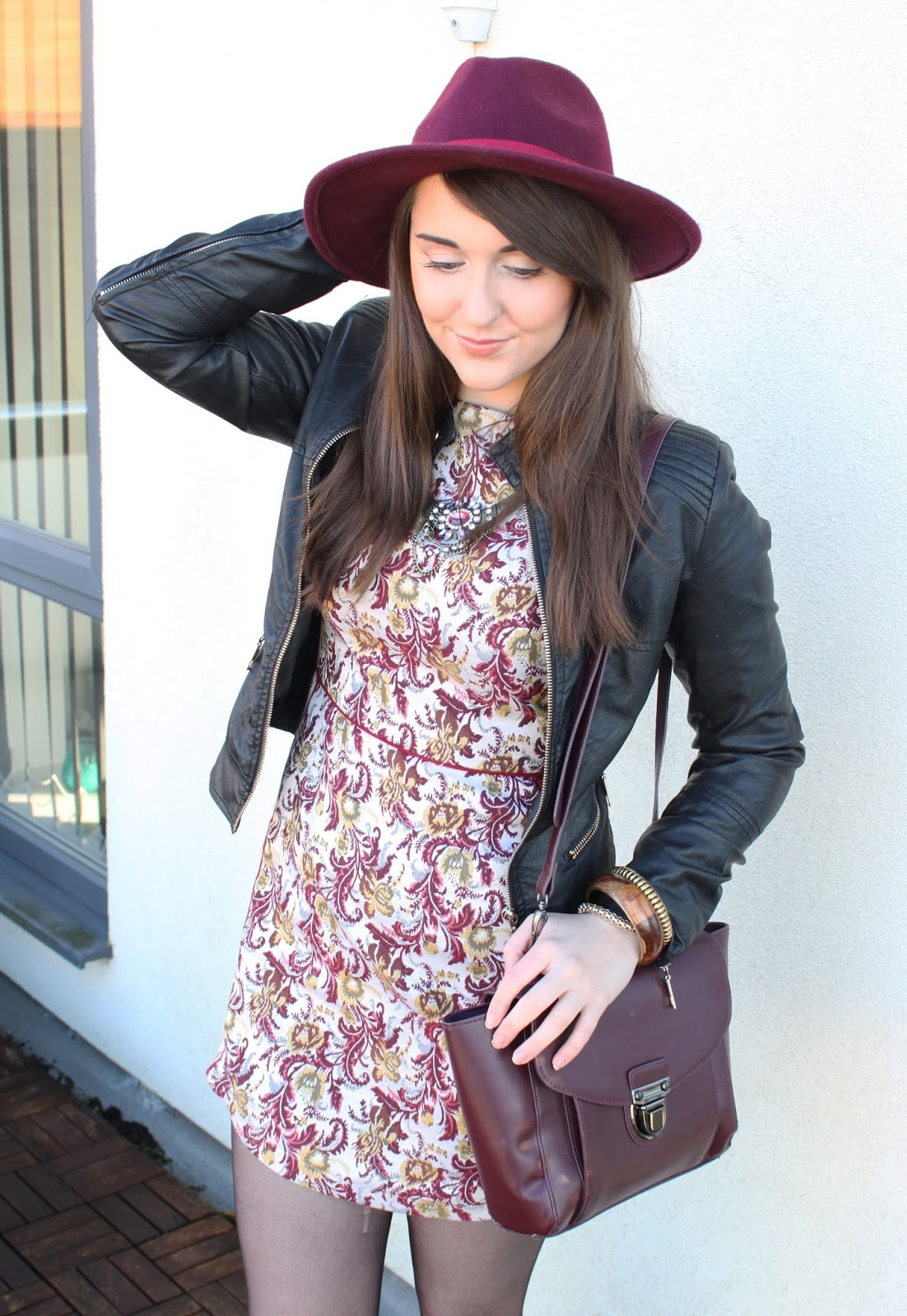 close-up-tapestry-dress-leather-jacket-red-fedora-hat