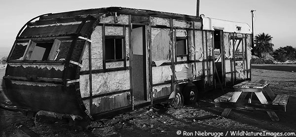 old burned up ugly travel trailer redneck