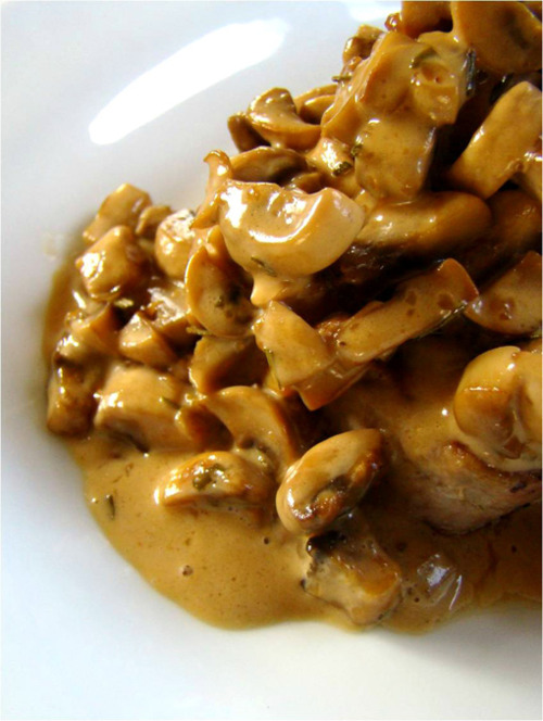 Pork Chops with Rosemary & Mushroom Cream Sauce ~ Is Yummy