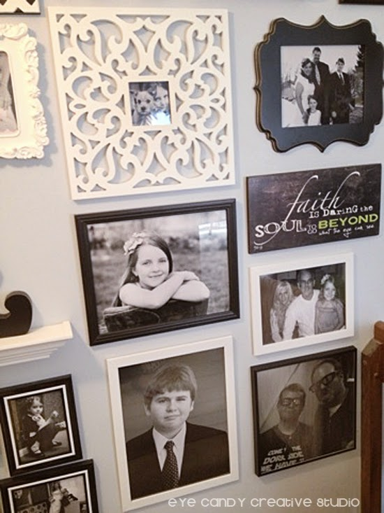 photo gallery of black and white photos, gallery wall, IKEA frames