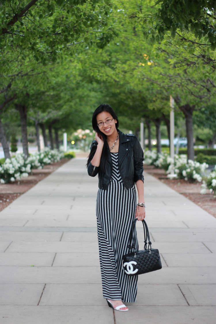 leather jacket striped maxi dress wedge chanel
