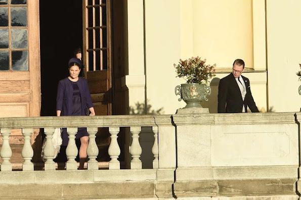 Princess Estelle of Sweden; Crown Princess Victoria of Sweden and Prince Daniel of Sweden are seen at Drottningholm Palace for the Christening of Prince Nicolas of Sweden at Drottningholm Palace