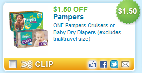 $1.50 OFF ONE Pampers Cruisers or Baby Dry Diapers