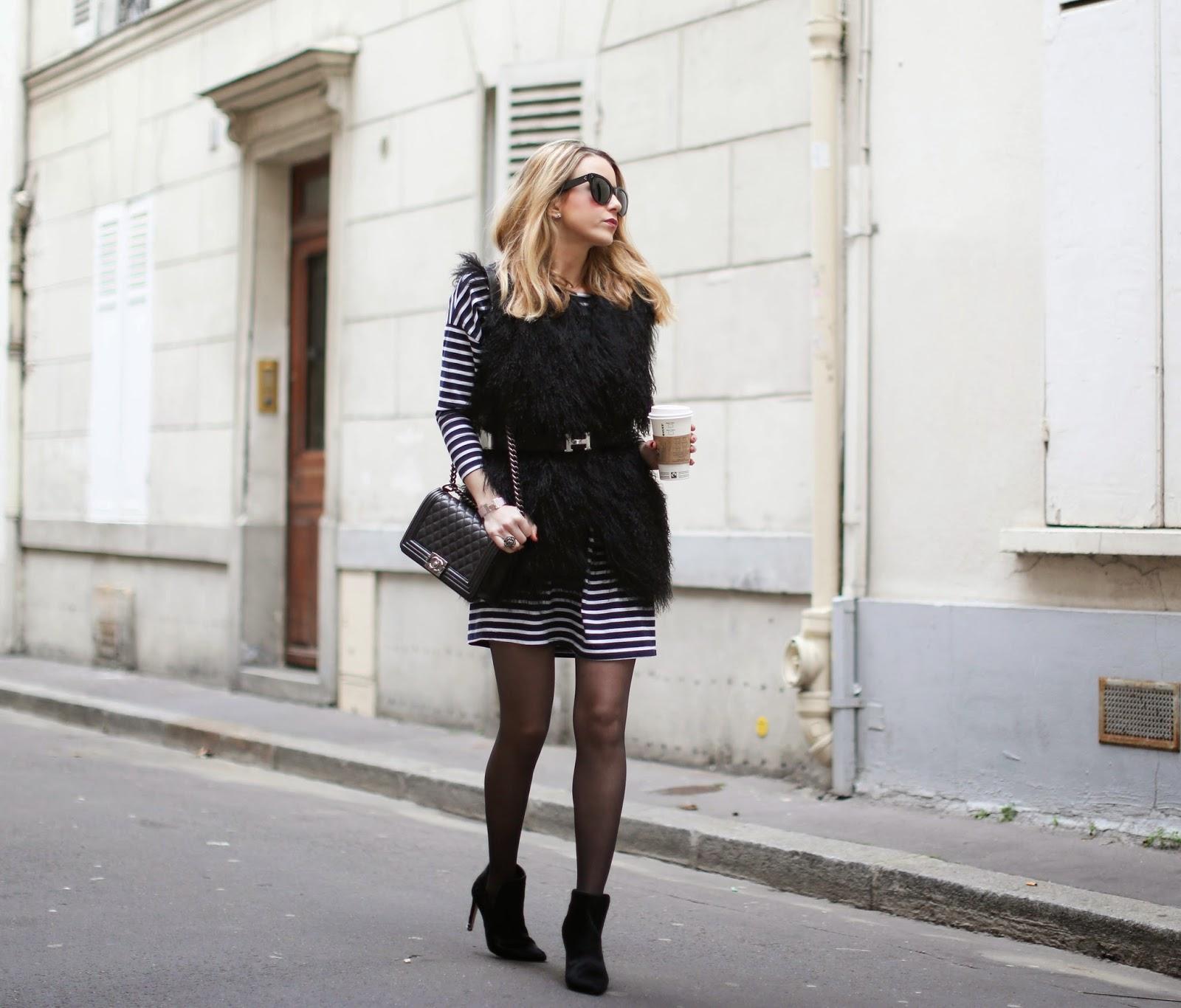 stripes, fur, bohemian traders, zadig et voltaire, zara, chanel, hermes, fashion blogger, streetstyle