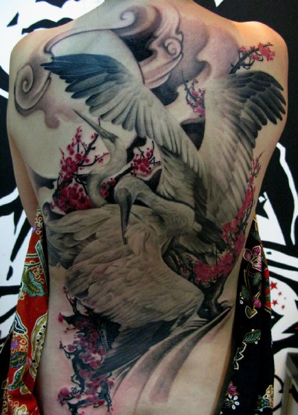 lion city tattoo crane full back elvin yong. Black Bedroom Furniture Sets. Home Design Ideas